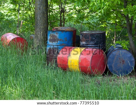 Oil drums in the nature
