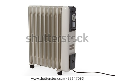 Oil electric heater on wheels isolated on white background #83647093
