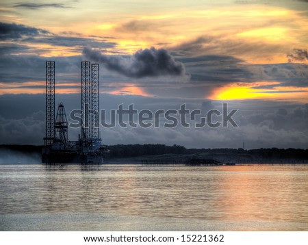 Oil Exploration Rig Under Construction At Dawn