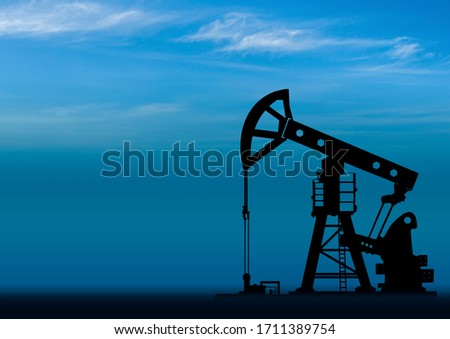 Oil field pump. Changes in petroleum and gas industry. Concept - exploration of oil fields. Concept - an abandoned drill rig. Crisis in petroleum industry. Oil rig on the background of the sky Stockfoto ©