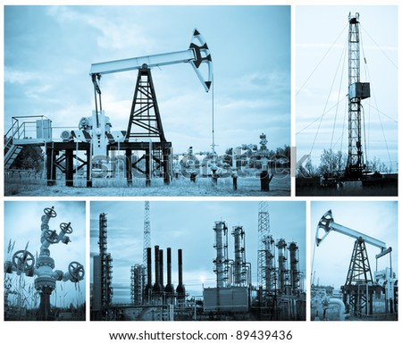 Oil, gas industry. Collage. Monochrome.