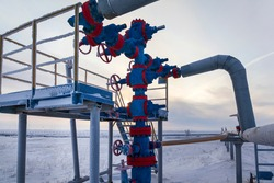 Oil, gas industry. Group wellheads and valve armature , Gas valve, Gas well of high pressure; gas production process