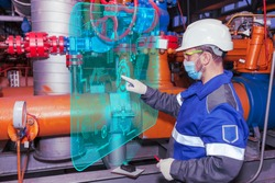 Oil, gas industry. New technology for equipment quality control: The mechanic - the repairman diagnoses equipment using new technologies.