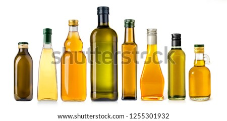 oil glass olive bottle isolated on white background #1255301932