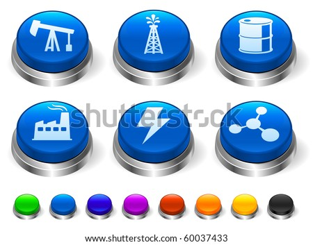 Oil Icon on 3D Button with Metallic Rim Collection Original Illustration