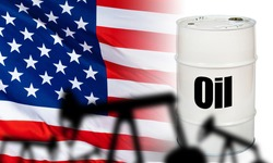 Oil in the United States. Concepc - US oil industry. Oil production in America. Shale. Hydrocarbon market. White barrel on the background of the USA flag. Inscription petrolium on a white barrel