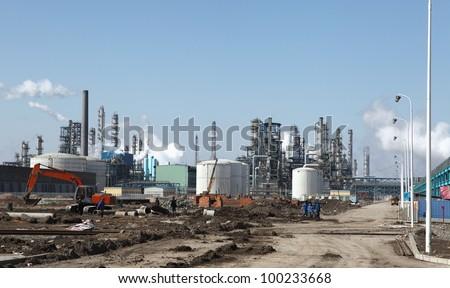 Oil industry equipment installation, - stock photo