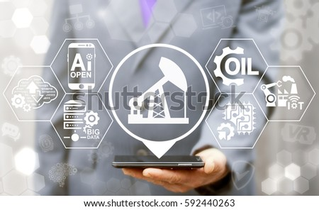 Oil industry 4.0 integration concept. AI, IoT, BIG DATA, Computing, Robotic, Cloud information technology fuel production. Smart gasoline manufacturing modernization. Crude pump location icon.