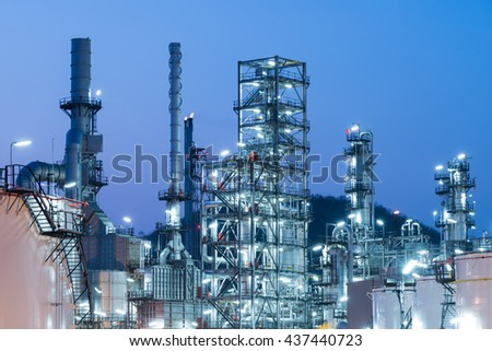Oil Industry Refinery factory at Sunset, Petroleum, petrochemical plant #437440723