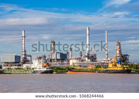 Oil Industry Refinery factory , Petroleum, petrochemical plant. Close up Industrial view at oil refinery plant form industry zone with sunrise and cloudy sky. Petrochemical industrial plant power . stock photo