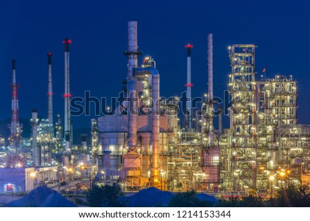 Oil Industry Refinery factory , Petroleum, petrochemical plant  with Twilight.