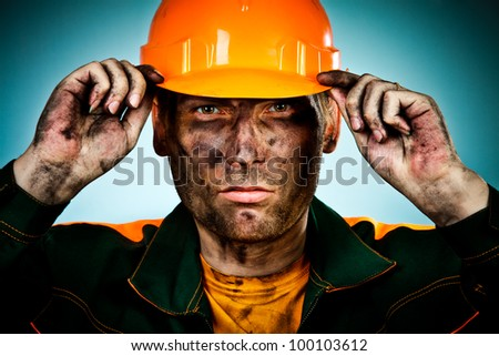 oil industry worker on blue background