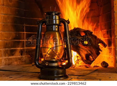 Oil Lamp Background Oil Lamp Near The Fireplace on