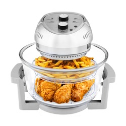 Oil Less Air Fryer Isolated. Brushed Stainless Steel 1300 Watts Electric Deep Fryer. Silver Modern Domestic Small Kitchen Appliances. Convection Oven 16 Quart Oilless Cooker with 1 Large Cup 18 oz