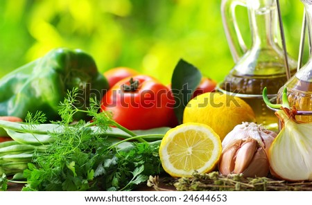 Oil Olive  and condiments. - stock photo