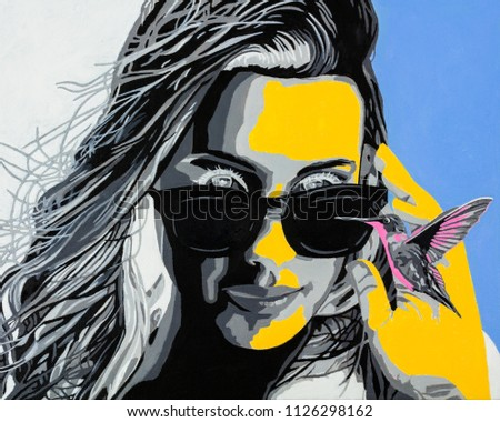 Stock Photo Oil on canvas modern conceptual art portrait painting of a beautiful young woman with sunglasses observing a hummingbird.