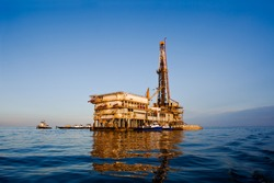 Oil or natural gas rig in Galveston Bay, Texas.