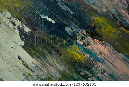 Oil Paint Abstract Texture Background On Canvas Colorful Degrade Colors Art Brush Stroke Textured Fall Colors Grey Navy Blue Pink Green And Yellow