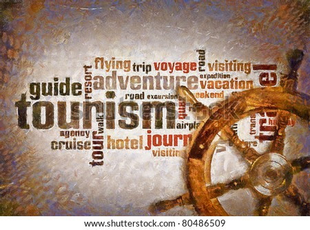 Oil paint draw wheel of tourism