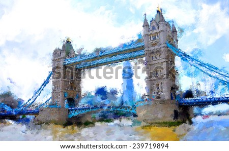 oil paint london tower bridge
