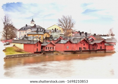 Oil paint on canvas. Picture with photo, imitation of painting. Illustration. Ancient Finnish city. Municipal landscape