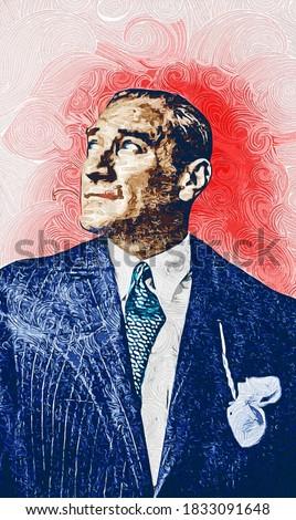 Oil Paint portrait illustration of Mustafa Kemal Ataturk