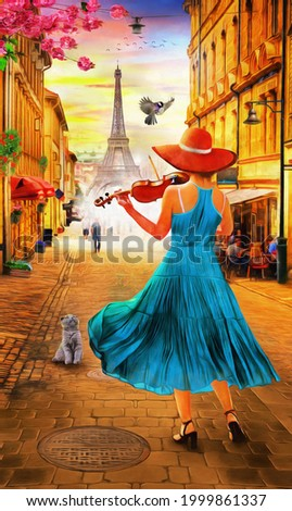 Oil Painting - A girl playing the violin at sunset in Paris with the Eiffel Tower. Collection of designer oil paintings. Decoration for the interior. Modern abstract canvas art. vintage