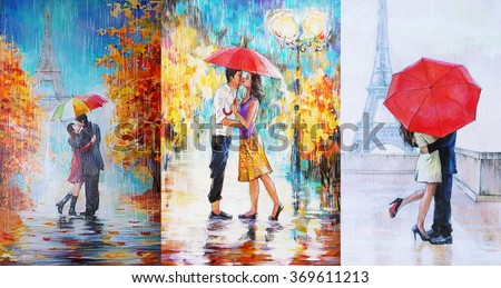 oil painting, a pair of lovers under an umbrella, Eiffel Tower, Paris, valentines day \ 3 in 1 collage