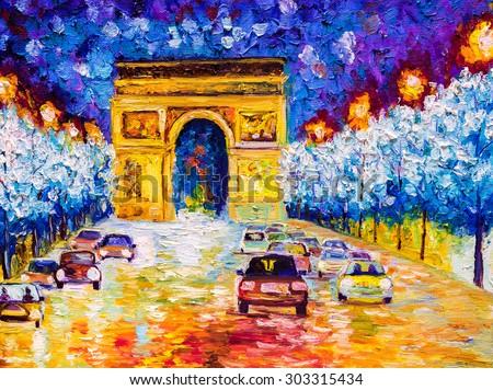 Oil Painting - Arc de triomphe, Paris