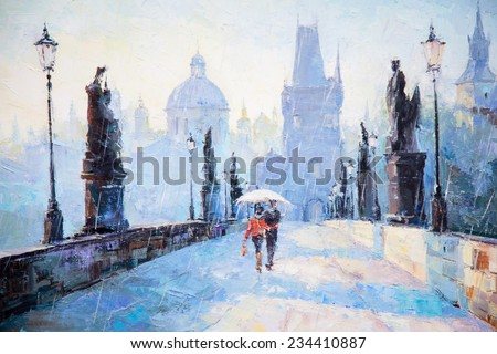 oil painting, art, a pair of lovers under an umbrella, the rain, the bridge, go away,