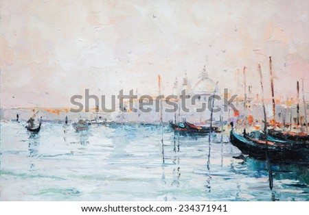 oil painting, art, landscape, river, sea, ocean, pier,