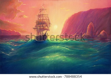Oil painting art on canvas, sea landscape background, seascape with ship, vessel in ocean drawing, its art hand drawn by oil on canvas