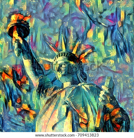 oil painting artwork of liberty ...