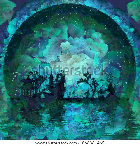 Oil painting. Asian silhouettes on waterfront. Giant moon at the horizon. 3D rendering stock photo