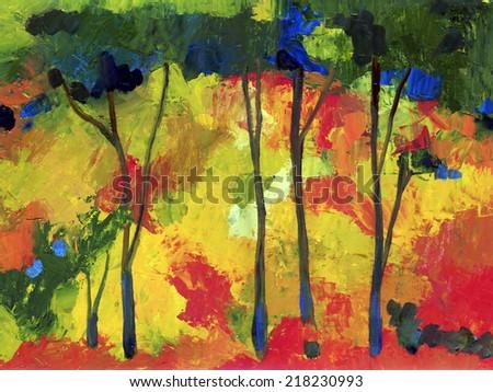 Oil painting autumn trees