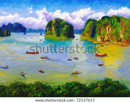 Oil Painting - Bay, Thailand