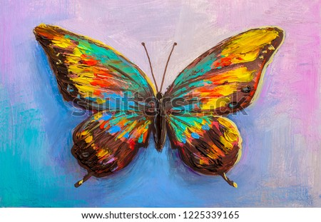 Oil painting , beautiful butterfly.