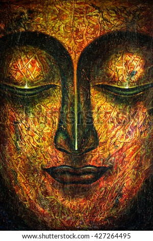 oil painting by hand of Buddha face with oil paint texture on canvas texture painting,meditation and art concept.