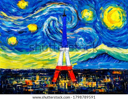 Oil Painting - City Skyline of Paris with abstract starry night sky