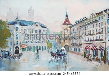 oil painting, cityscape, downtown street, European city landscape of the last century