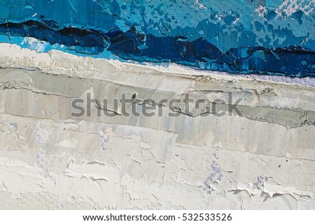Oil Painting closeup texture background with blue gray white colors vivid colorful creative