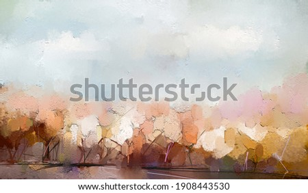 Oil painting colorful autumn tree. Vintage paint color, Image of landscape, forest with yellow, red leaf on tree. Autumn, Fall season nature background. Hand Painted Impressionist, outdoor landscape Foto stock ©