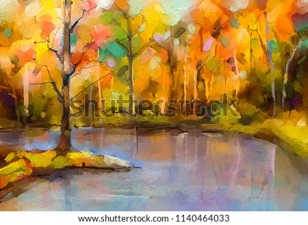 Oil painting colorful autumn trees. Semi abstract image of forest, aspen trees with yellow - red leaf and lake. Autumn, Fall season nature background. Hand Painted Impressionist, outdoor landscape