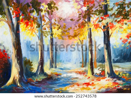 Stock Photo oil painting - colorful spring landscape, road in the forest, ab