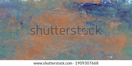 Oil painting, cool background in green-blue tones with a textured brush and bronze spots. А  Растровая Сток-фото ©