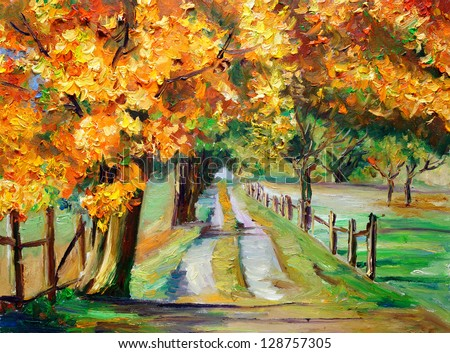 Oil Painting - Country Road with Maple
