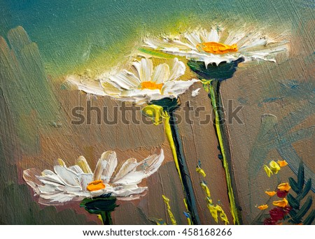 Oil Painting daisies flowers  in the garden