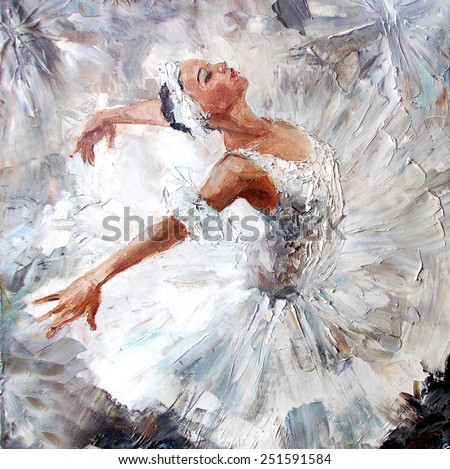 oil painting, girl ballerina. drawn cute ballerina dancing
