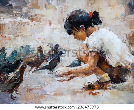 oil painting, Girl feeding pigeons, teenager, bird, kindness