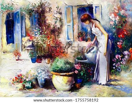 oil painting, girl in the garden